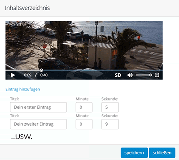 So erstellt man in Videolyser ganz einfach ein Inhaltsverzeichnis mit ein paar Klicks: Screenshot aus dem Backend von Videolyser bei der Erstellung eines Video-Inhaltsverzeichnis