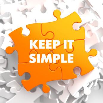 Video Hosting das sehr einfach gehalten ist: Orange Puzzle-Teile mit einem weißen Text - Keep it simple!