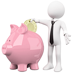 Unschlagbar günstiges Video-Hosting: weiße Figur wirft einen Penny in ein rosanes Sparschwein