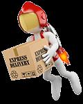 Super Schnelles Video Hosting: weiße Figur mit Jetpack auf dem Rücken.