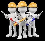 Video Hosting bei dem fast alle Datei-Formate erlaubt sind: drei weiße Bauarbeiter Figuren mit Helm und Werkzeug in der Hand