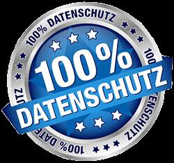 Blau und graues 100% Datenschutz Siegel bei unserem Video-Hosting System