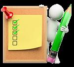 Video Hosting mit dreifacher Sicherheit: weiße Figur mit einem Stift und einer Checkliste