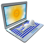 Video Hosting, einfach und intuitiv: weiße Figur liegt auf einem Laptop mit einem Handtuch und entspannt sich