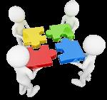 Vier weiße Figuren fügen vier Puzzleteile in der Mitte zusammen