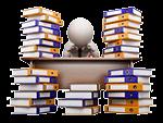 Bei unserem Video-Hosting System sind digitale Video-Inhaltsverzeichnisse möglich: weiße Figur sitzt am Schreibtisch und wird erschlagen von dem Bücherberg, der ihn umgibt.