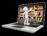 Video-Hosting mit intelligenter Ordnerverwaltung: weiße Figur sortiert Bücher in einem Laptop Bücherregal ein.