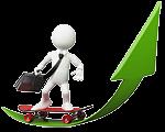 Video Hosting mit Schnittstelle zu Google Analytics: weiße Figur mit Aktentasche fährt auf einem Skateboard die grüne Erfolgskurve nach oben