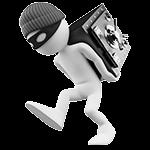 Video-Hosting mit SSL Verschlüsselung: weiße Figur mit schwarzer Maske und Mütze stiehlt einen Safe